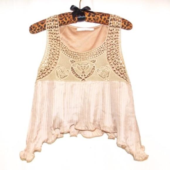 090ab5e287d Goddess Wing Tops   Boho Gypsy Crochet Gold Top Blush Festival ...